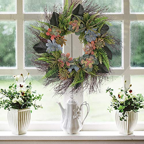 """Valery Madelyn 26"""" Summer Door Wreath with Artificial Succulent Fern Leaves, Magnolia Flower Leaves for Front Door, Wall, Home Decor"""
