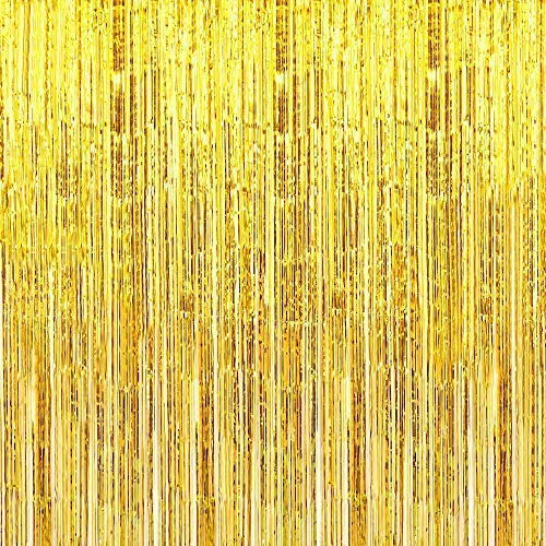 (Pack of 2) Gold Foil Fringe Backdrop Curtain, Photo Booth Backdrop for Party Decoration, Christmas party, New Year Eve Party Supplies, Birthday, Holiday Decorations