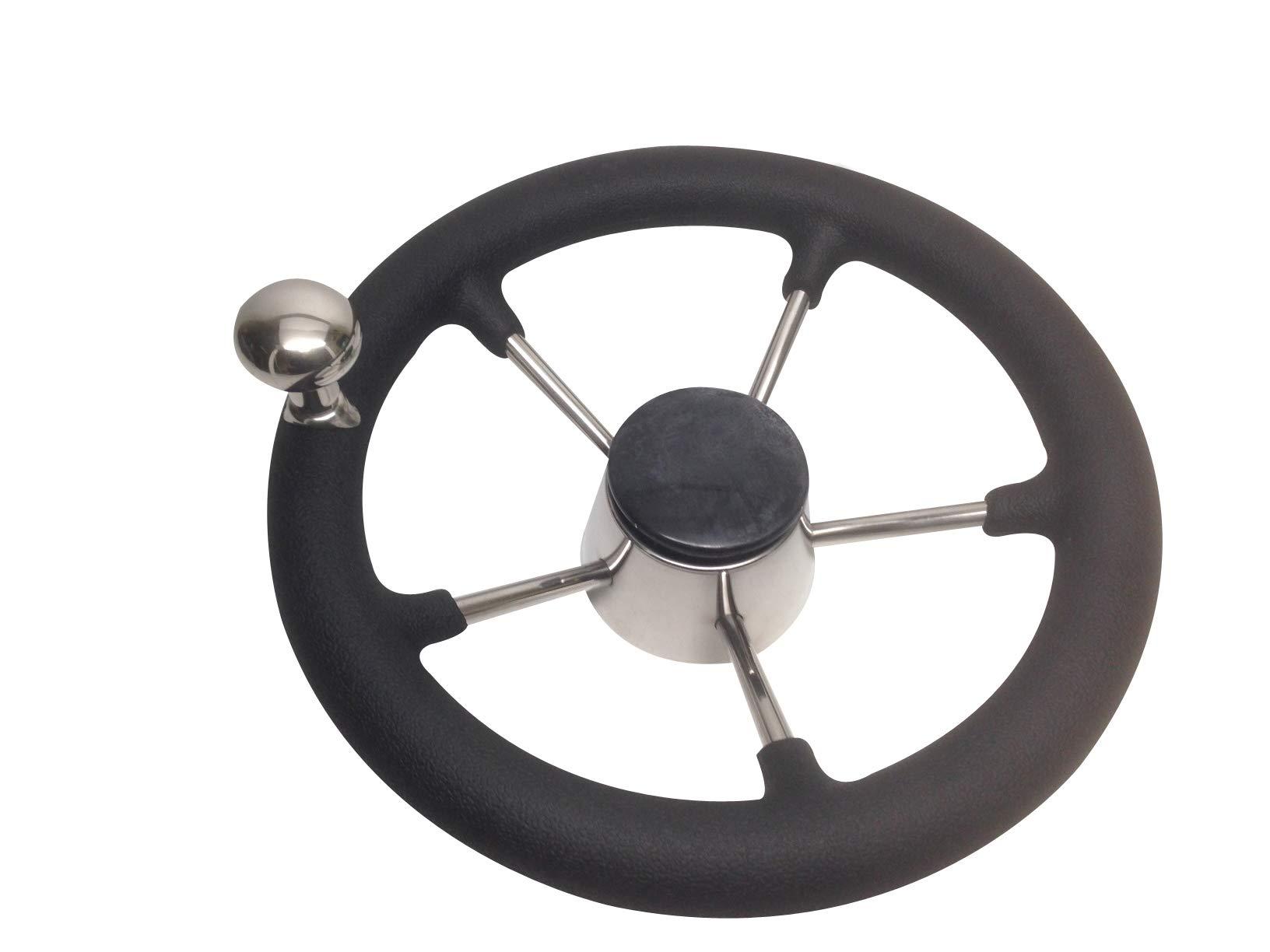 Pactrade Marine 11'' Destroyer SS Steering Wheel 5 Spoke Foam Grip Control Knob by Pactrade Marine