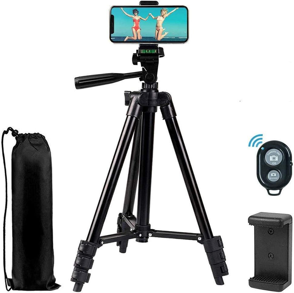 حامل ثلاثي ثلاثي للهاتف 42 بوصة 360 مرن للهاتف الذكي ، يستخدم أيضًا كحامل ثلاثي للكاميرا، حامل ثلاثي للكاميرات دي اس ال ار، حامل ثلاثي للفيديو مع حامل هاتف حامل هاتف يعمل بتقنية البلوتوث عن بعد، أسود