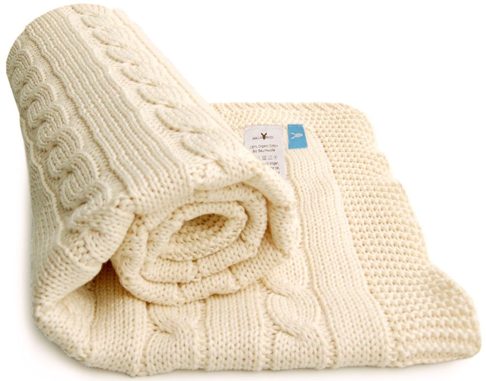 Wallaboo 100 Percent Organic Cotton Sweater Knit Blanket, Noa with Wide Ribbed Border, Ivory Cream Wallaboo BV WBN.0515.4907