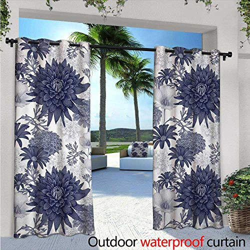 - Dahlia Flower Outdoor Blackout Curtains Dotted Digital Paint of Dahlia Botanical Curved Rolled Wild Ray Blunts Design Outdoor Privacy Porch Curtains W108 x L108 Blue White