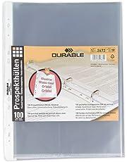 Durable - Funda multitaladro tamaño A4 vertical con apertura superior y perforación universal (100 unidades)