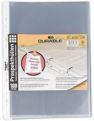 Durable - Funda multitaladro tamaño A4 vertical con apertura superior y perforación universal (100 unidades
