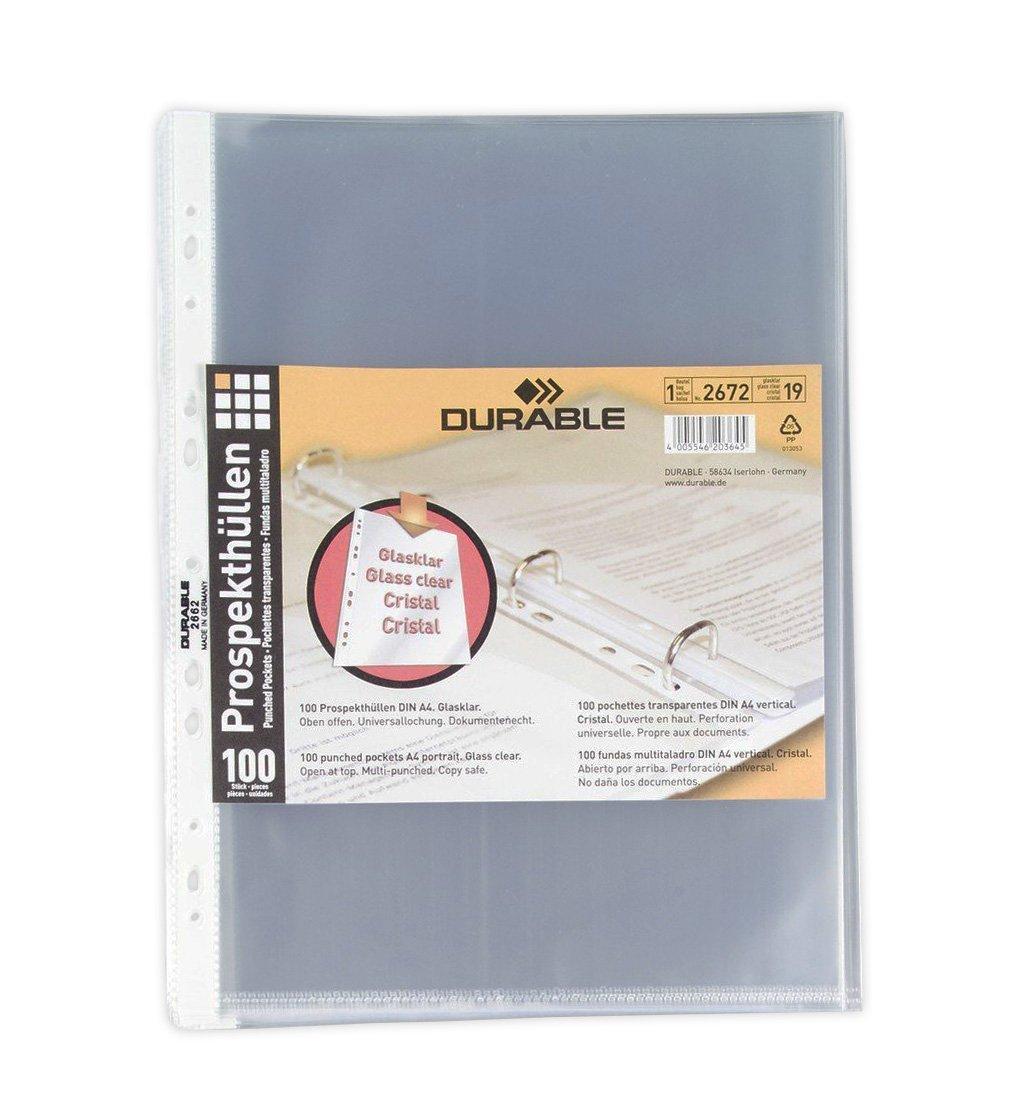 DURABLE 265919 - Busta standard forata per cataloghi, f.to A4, apertura lato superiore, finitura buccia d'arancia, trasparente, confezione da 100 pezzi