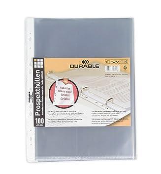 Durable - Funda multitaladro tamaño A4 vertical con apertura superior y perforación universal (100 unidades): Amazon.es: Oficina y papelería