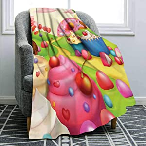 """SHENGLIPINK Flannel Fleece Microfiber Bed Blanket,Yummy Donuts Sweet Land Cupcakes Ice Cream Cotton Candy Clouds Kids Nursery Design Travel Size (50 x 60"""") Cozy Couch Bed Super Soft & Warm,Multicolor"""