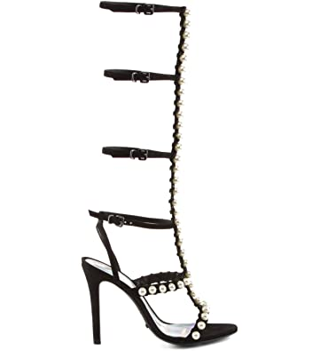 e9fd1923254 SCHUTZ Womens Thassia Black Knee High Strappy High Heel Gladiator Sandal  Pearl Detail (5)
