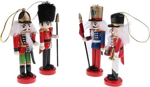 Homyl 10pcs 12cm Casse-Noisette en Bois Figurine Marionnette Multicolore D/écoration Suspendue Pendentif Maison Sapin de No/ël