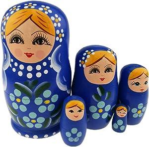 Winterworm Set of 5 Blonde Girl Light Blue Flower Dark Blue Wooden Nesting Dolls Matryoshka Russian Doll Popular Handmade Stacking Toys Kids Gifts Christmas New Year Home Decoration