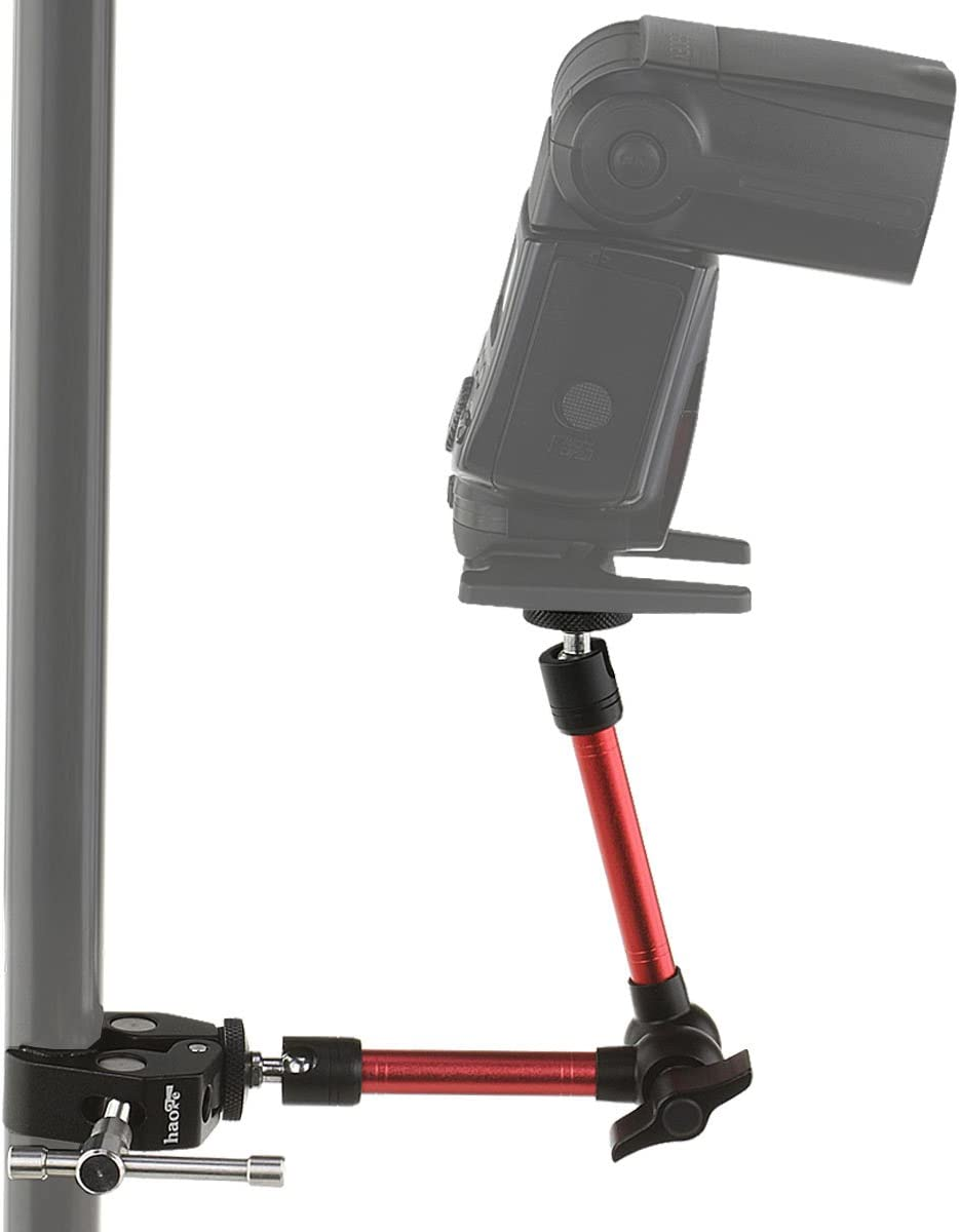 Haoge 7 inch Stainless Steel Articulating Friction Magic Arm with Large Clamp for HDMI LCD Monitor LED Light DSLR Camera Video Tripod Flash Lights TPCAST HTC Vive Pro Base Station lightinghouse Blue