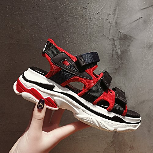 SOHOEOS sandalias de punta abierta mujer femenina verano nuevos zapatos de plataforma de fondo grueso zapatos de playa de velcro zapatos de mujer zapatos romanos deportes al aire libre ligero ocasional de secado rápido, 38EU, rojo 38EU