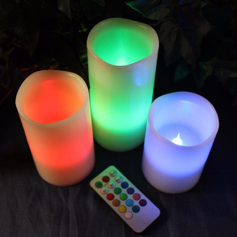 すべてGoogly 3個ホームインテリアLED Flameless Candleピラー12色Changing withリモート   B077WS3V43