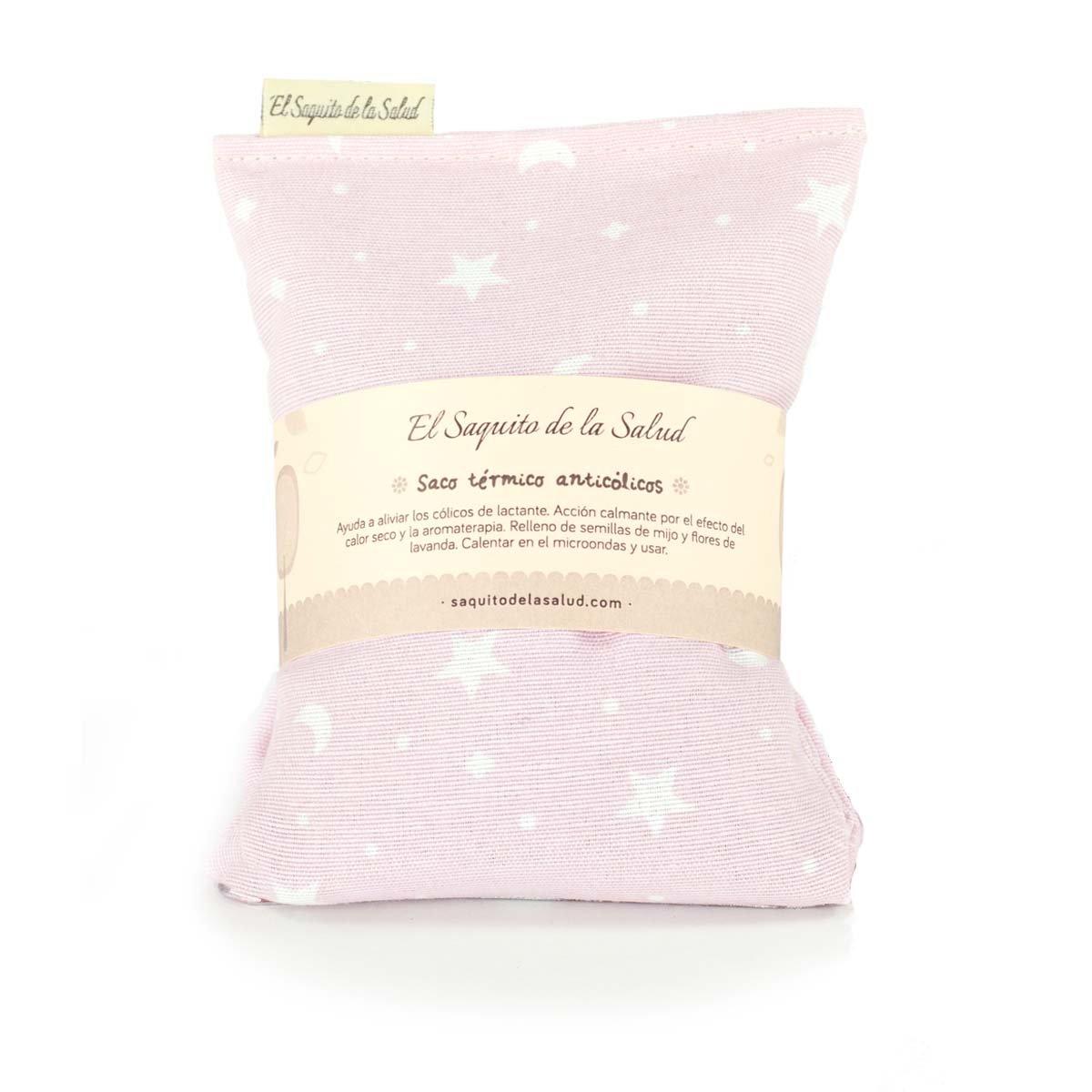 Saco Térmico de Semillas Anti Cólico del Lactante aroma a Lavanda Rosa con Estrellitas El Saquito de la Salud