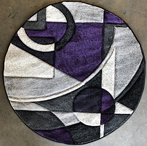 Modern Round Abstract 400,000 Point Area Rug Purple & Grey Design 322 Contempo (5 feet 3 inches X 5 feet 3 inches Round) (Machine Made Rug Contempo)