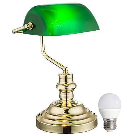 Nostalgia Tabla Retro lámpara banquero verde de la lámpara en el kit que incluye lámparas LED