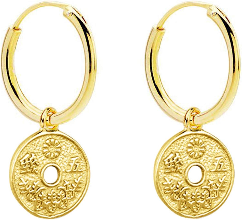 Iyé Biyé Jewels - Pendientes Aros Lisos 10 mm Moneda Japonesa 8mm Plata de Ley 925 Mls. Baño Oro Amarillo.