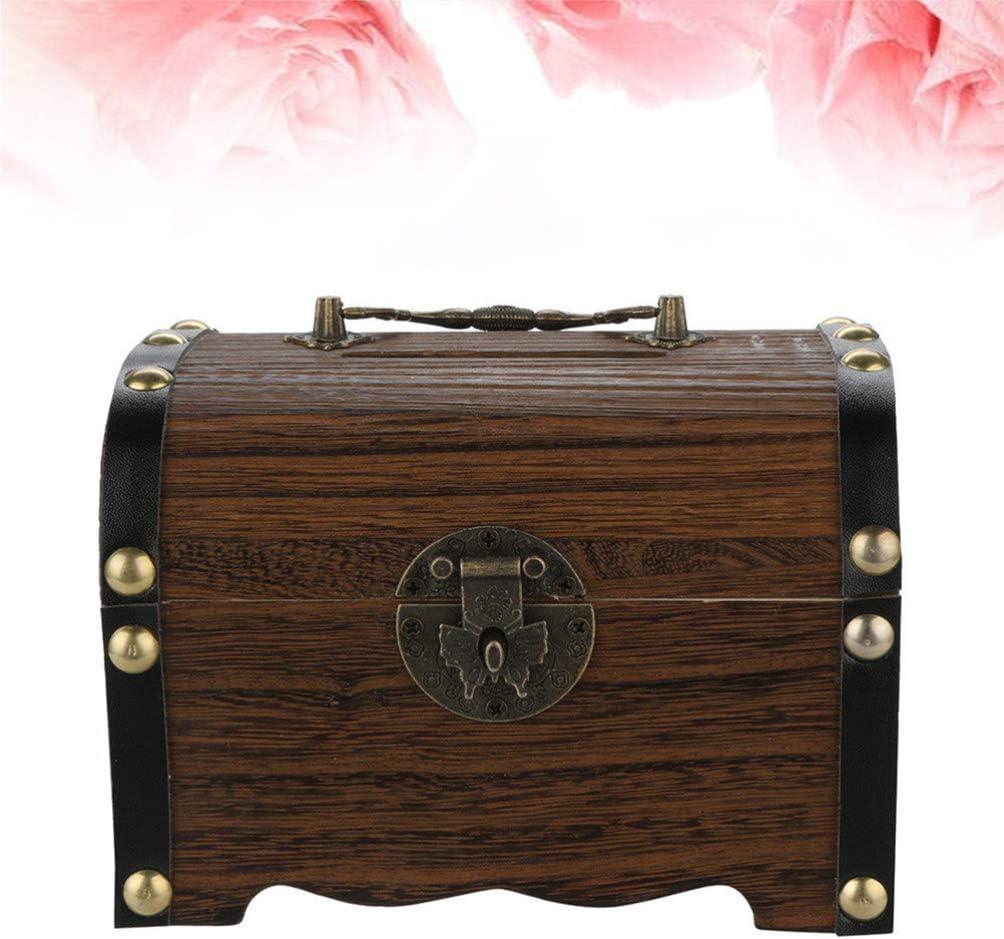 14x10x10cm HEALLILY Wooden Treasure Box Wood Piggy Bank Safe Wood Money Box Savings with Lock