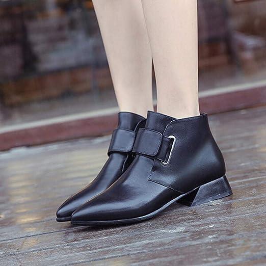 Botines Mujer Invierno Piel Botas Zapatos Puntiagudos para Mujer Moda Botas de tacón Alto Botas Cortas Ocasionales Salvajes Botines Martin Botines Botas ...