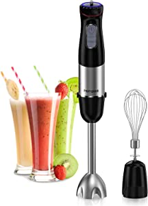homgeek Immersion Blender 500 Watt Hand Blender 6-Speed Stick Blender with Whisk for Smoothies, Puree Baby Food, Sauces and Soups, Black