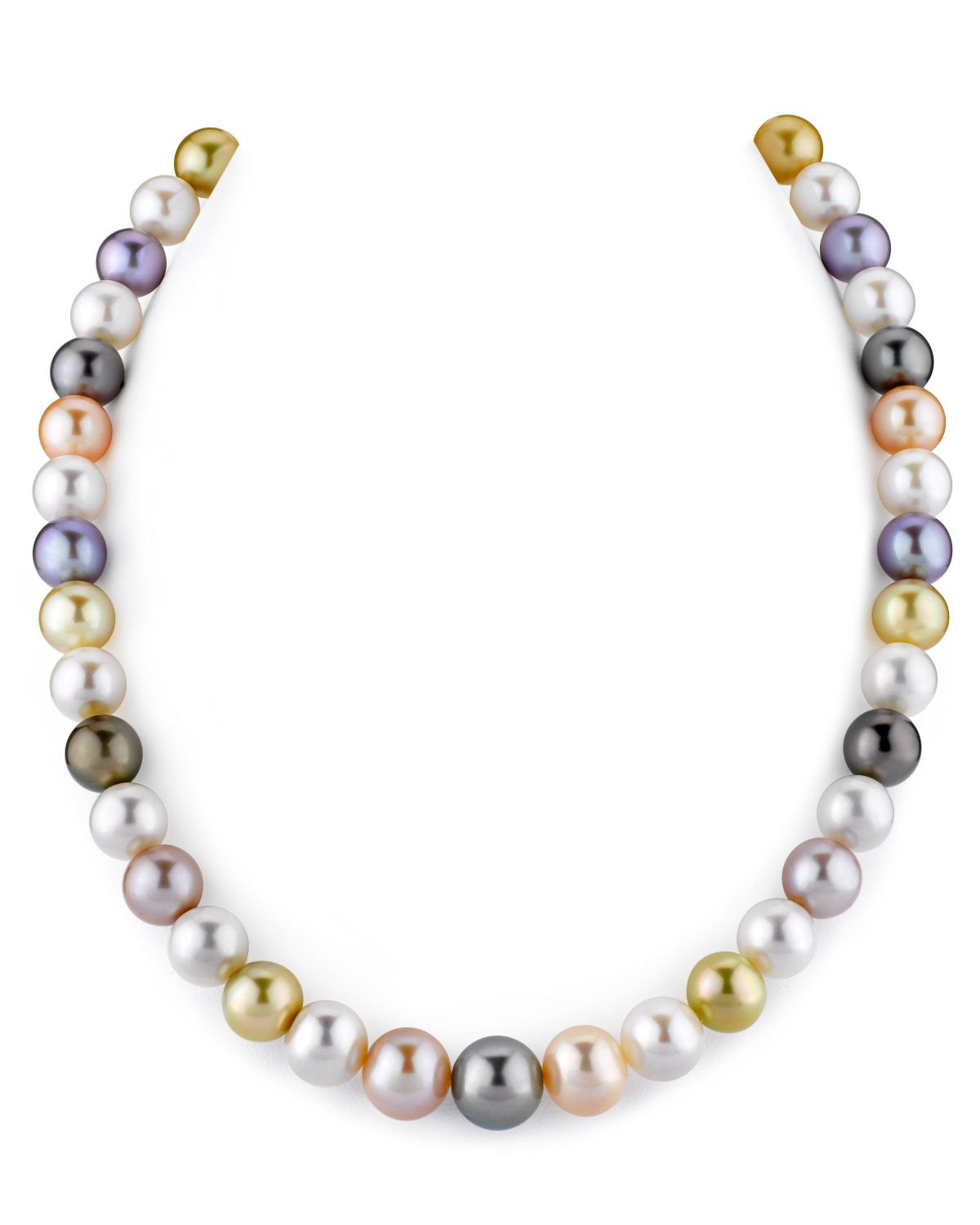 THE PEARL SOURCE 14K Gold 9-11 Round Genuine Multicolor South Sea Cultured Pearl Necklace in 17'' Princess Length for Women