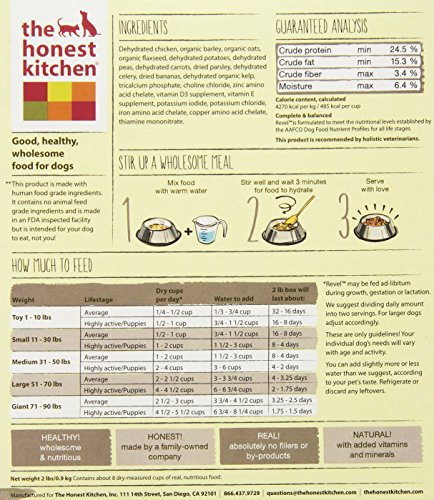 183413004497 - The Honest Kitchen Revel: Natural Human Grade Dehydrated Dog Food, Chicken & Organic Grains,2 lbs (Makes 8 lbs) carousel main 4