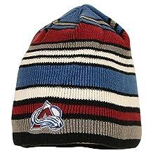 Reebok NHL Team Color Striped Winter Knit Hat / Beanie (Colorado Avalanche)