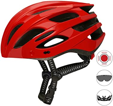SYYC Casco de Bicicleta Ajustable con Visera Desmontable/Gafas ...