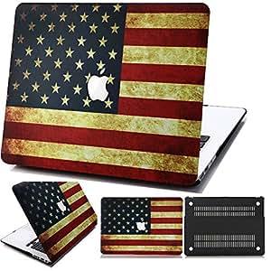 Aikand® MacBook Air de 11 pulgadas Fundas,EE.UU. Bandera Patrón 2-en-1 colores multi Caso ultra delgado peso ligero duro recubierto de goma con la piel del teclado EU/UK para Apple MacBook Air de 11,6 pulgadas (modelos de ajuste: A1370 y A1465)