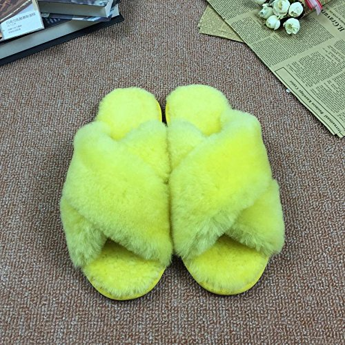 sheep fuzzy yellow Ladies in fur warm slippers and autumn home MHGAO 39 winter at slippers gFq5q