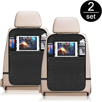 Rangement de voyage avec support pour tablette//iPad et tapis de protection pour coups de pied Lot de 2/housses pour arri/ère de si/ège de voiture
