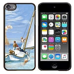 TECHCASE---Cubierta de la caja de protección para la piel dura ** Apple iPod Touch 6 6th Touch6 ** --Gato Monstruo Naranja Jengibre Mar Barco