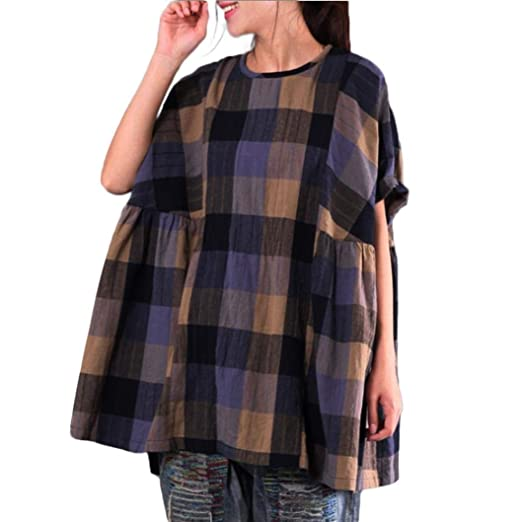 Sunhusing Womens Retro Plaid Print Loose Cotton Linen Batwing Sleeve Top with Pocket
