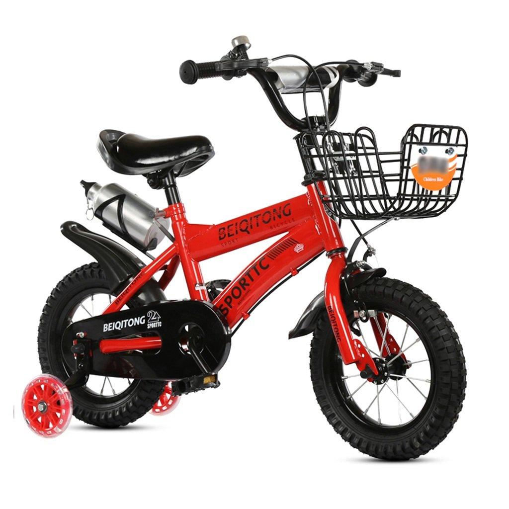 子供の自転車12|14|16|18|20インチ屋外の子供ベイビーキッドマウンテンバイクフラッシュトレーニングホイールで2歳から11歳の男の子の女の子の贈り物|アイアンバスケット|ウォーターボトルセーフダンプレッド B078KD197312インチ