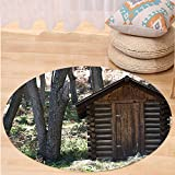Niasjnfu Chen Custom carpetOuthouse Spring Wooden Seem Outhouse Cottage in Forest Leaves Lumberjack Photo for Bedroom Living Room Dorm Dark Brown and Green
