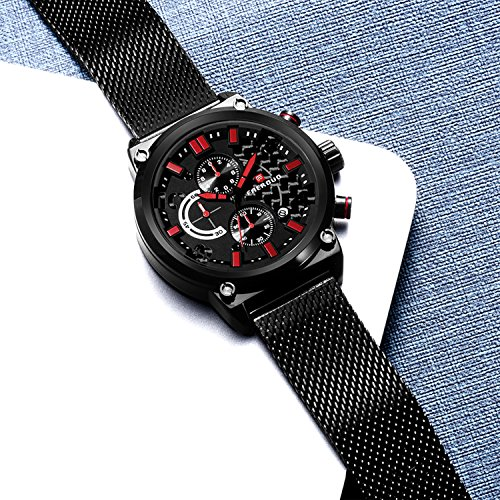 Baogela Mens Black Stainless Steel Chronograph Calender Alloy Quartz Fashion Wrist Watch (Black-Red)