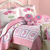 Cozy Line Butterfly Girls Bedding Quilt Sets Kids Light Pink Bedspread Cotton, Twin