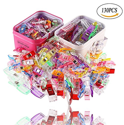 130 PCS Sewing Quilting Craft Clips,Multipurpose Clips in Tin Box 2 Sizes 100 Small 30 Large Assorted Colors by VEYLIN