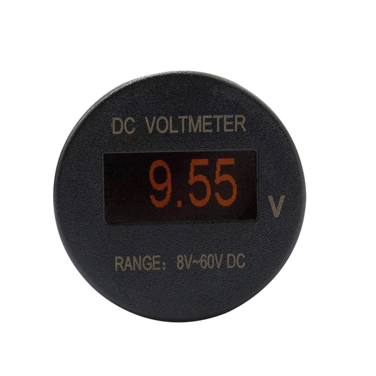 BEESCLOVER Mini OLED volt/ímetro Universal 8-60 V DC LED Panel Digital IP66 Monitor de Voltaje Negro B3397