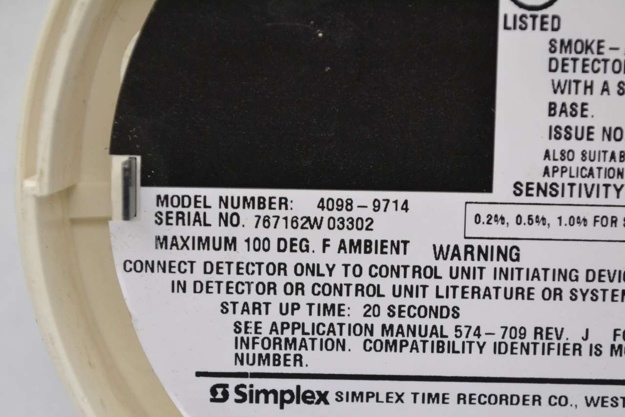 SIMPLEX 4098-9714 AUTOMATIC FIRE SMOKE DETECTOR SAFETY AND SECURITY B475304: Amazon.com: Industrial & Scientific