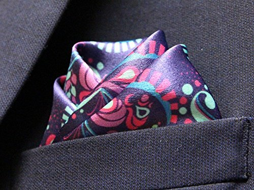 Pure Silk Purple Paisley Premium Quality for Men: Mr Bryant Silk Pocket Square by American Pocket Square Company