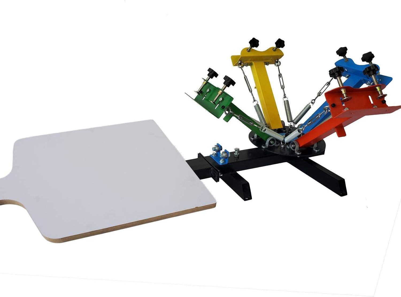 Screen Printing Press 4 Color 1 Station Manual Printing Ink Printing Silk Screen Printing Machine Press for T-Shirt DIY Printing