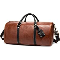 YYDM Bolsa de viagem de couro à prova d'água, grande espaço de armazenamento com compartimento separado para sapatos…
