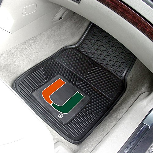 Exercise Gear, Fitness, FANMATS 8783 University of Miami Hurricanes Front Heavy Duty Vinyl Car Mat - 2 Pieces Shape UP, Sport, Training
