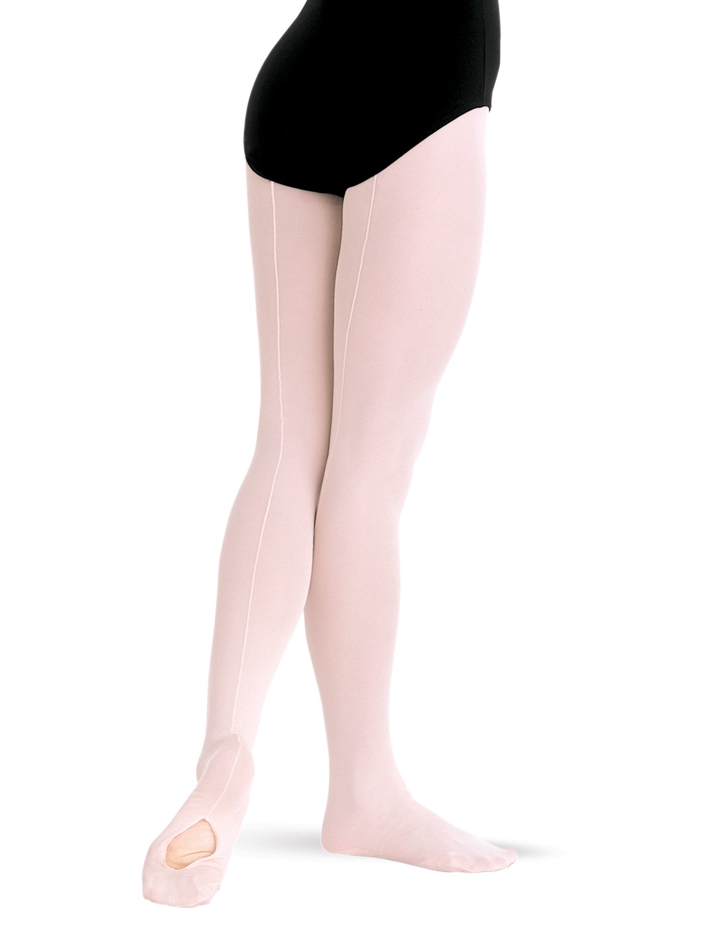 Adult TotalSTRETCH Mesh Seamed Convertible Tights,A45BPKT,Ballet Pink,Toddler by Body Wrappers