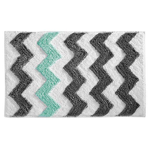 - InterDesign Chevron Bath, Machine Washable Microfiber Accent Rug for Bathroom, Kitchen, Bedroom, Office, Kid's Room, Set of 1 Gray and Aruba