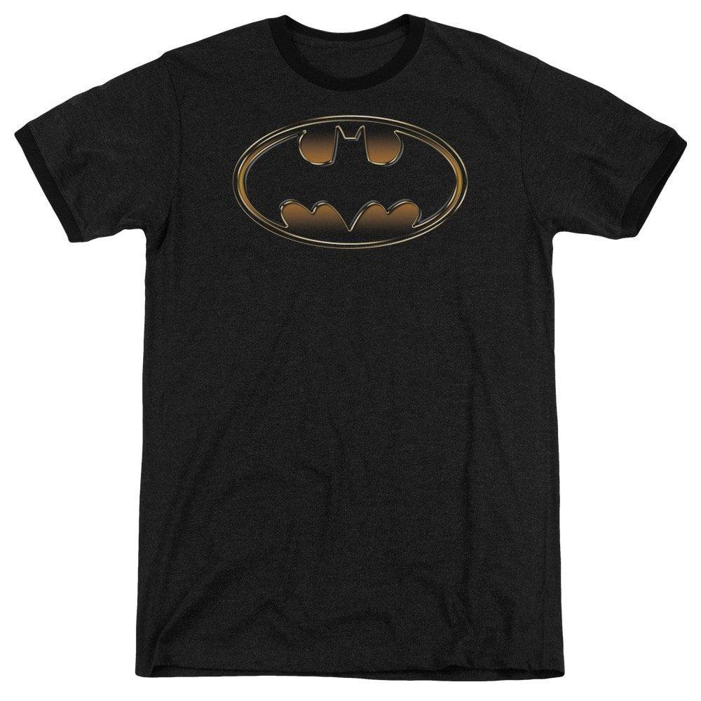 Shirt L Black /& Gold Embossed Adult Ringer T Sons of Gotham Batman