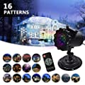 Upgrade Christmas Lights Projector -16 Patterns LED Projector Outdoor Projector for Holiday Decoration Landscape Lamp Remote Control and Waterproof Perfect for Halloween or Christmas