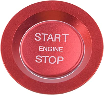 CITALL Car Engine Start Stop Ignition Switch Push Button Decorative Ring Trim Red