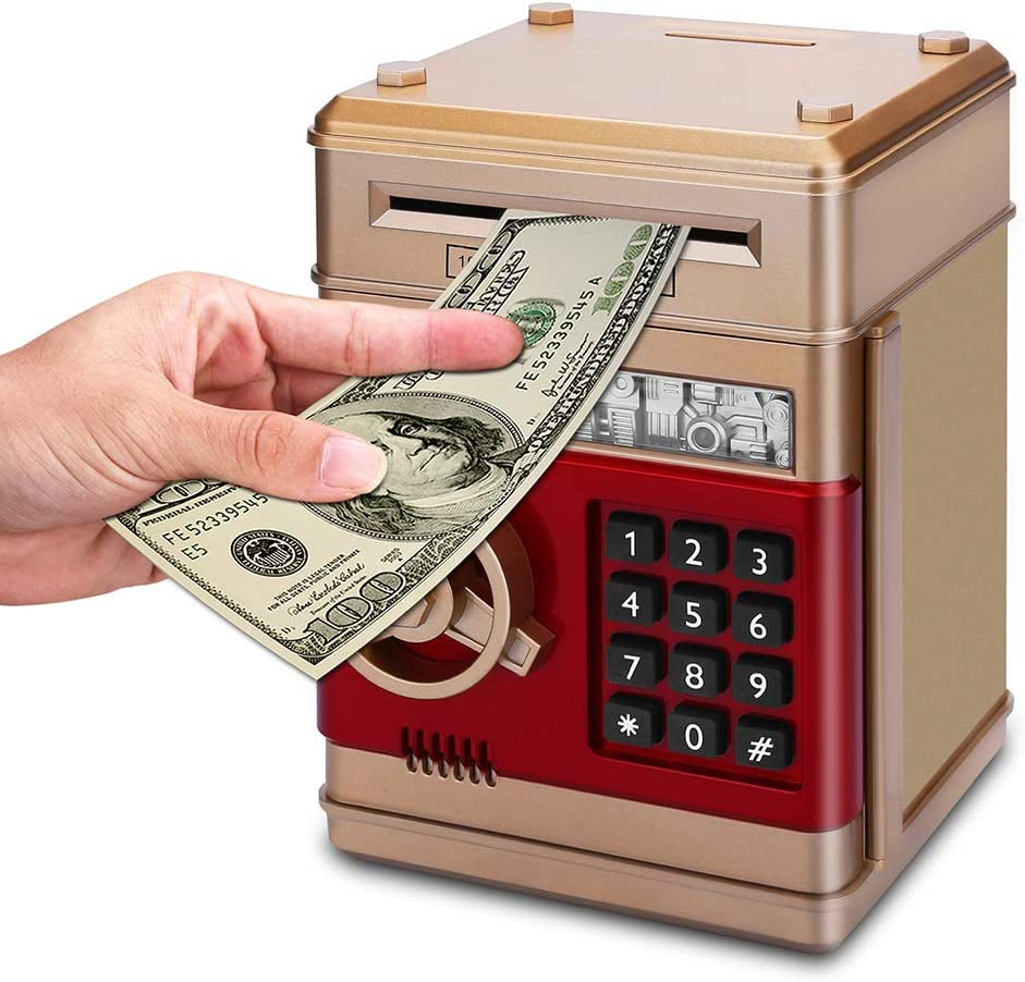 white ATM Stealing Money Coin Penny Bank and Saving Coin Penny Box Bank For Kids and Children PowerKing Saving Money Box